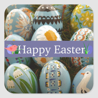 Blue Painted Easter Eggs Square Sticker