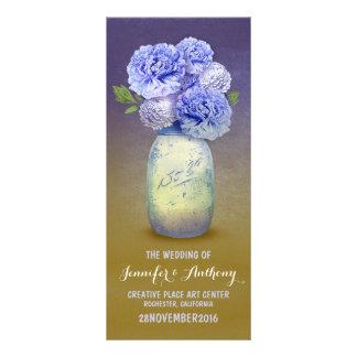 Blue painted mason jar wedding programs