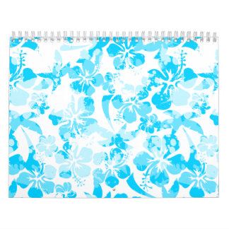 Blue painted tropical floral calendar