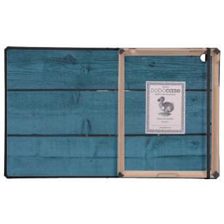 Blue painted wood planks cases for iPad