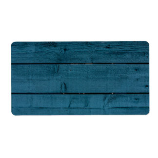 Blue painted wood planks label