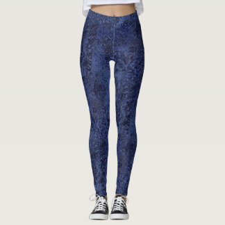 Blue Painterly Abstract - Leggings