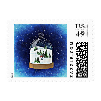 Blue Painting Christmas Snowball Skiing Stamp