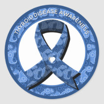 Blue Paisley Awareness Ribbon Classic Round Sticker