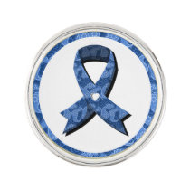 Blue Paisley Awareness Ribbon White Heart Lapel Pin