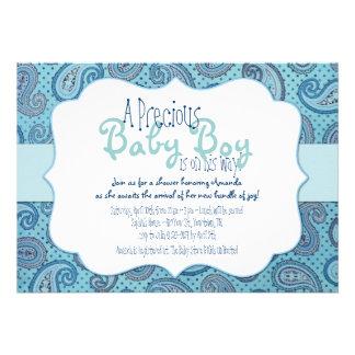 Blue Paisley Baby Boy Shower Invitation