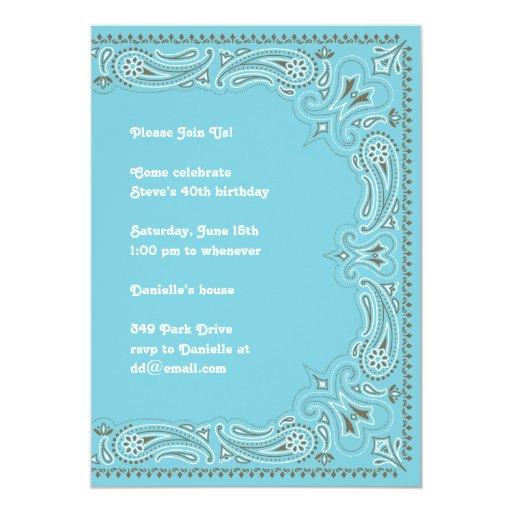 """Blue Paisley Bandana Invitation 5"""" X 7"""" Invitation Card"""