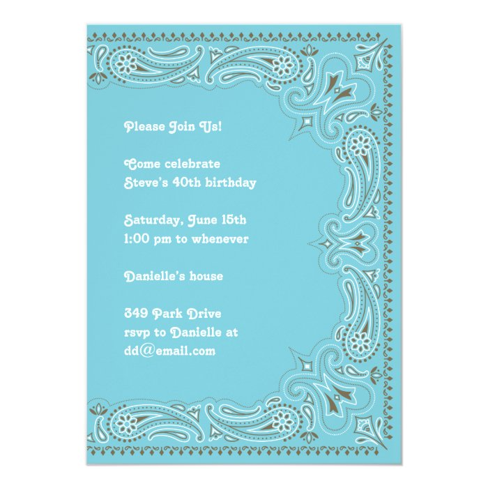 Blue Paisley Bandana Invitation