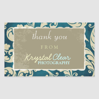 Blue Paisley Client Thank You Stickers