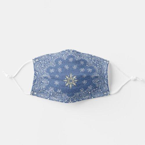 Blue Paisley Denim Style  Western Pattern Cloth Face Mask