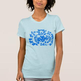 Blue Paisley Design T-Shirt- Womens T-Shirt