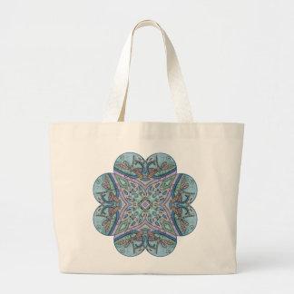 Blue Paisley Dragonfly Mandala Kaleidoscope Tote Bag