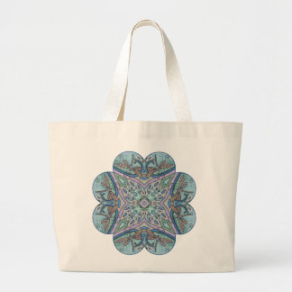 Blue Paisley Dragonfly Mandala Kaleidoscope Tote Jumbo Tote Bag