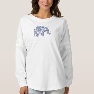 Blue Paisley Floral Elephant