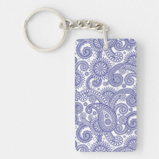 Blue Paisley Floral Keychain
