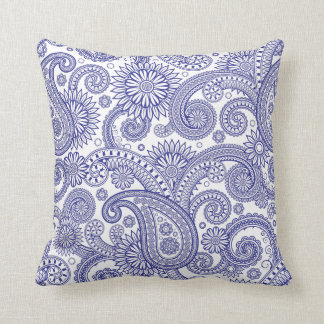 Blue Paisley Floral Pillow