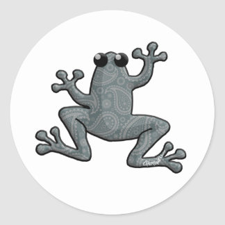 Blue Paisley Frog Classic Round Sticker