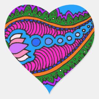 Blue Paisley Heart Sticker
