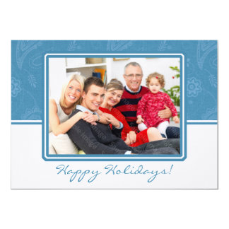 Blue Paisley Holiday Flat Card Announcement