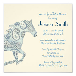 Blue Paisley Horse Baby Shower Card