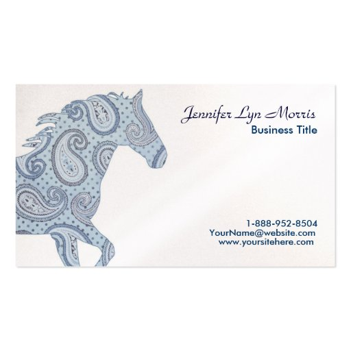 Blue Paisley Horse Double-Sided Standard Business Cards (Pack Of 100)