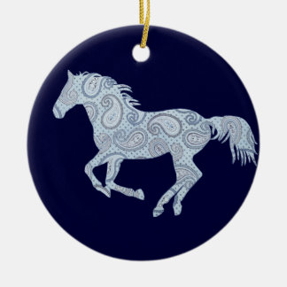 Blue Paisley Horse Ceramic Ornament