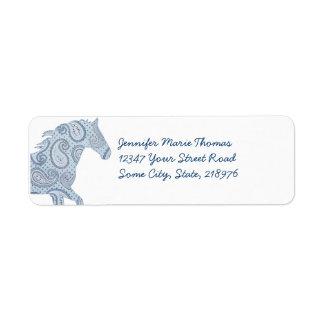 Blue Paisley Horse Label