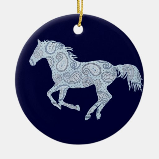 Blue Paisley Horse Christmas Tree Ornaments