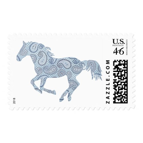 Blue Paisley Horse stamp