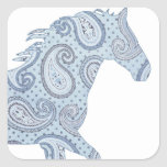 Blue Paisley Horse Square Sticker