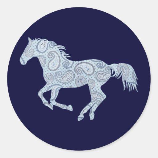 Blue Paisley Horse Sticker