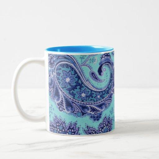 Blue Paisley Mugs