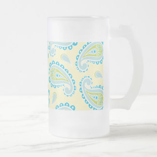 Blue Paisley on Yellow Frosted Glass Beer Mug