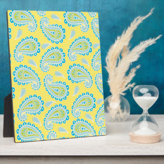 Blue Paisley on Yellow Plaque