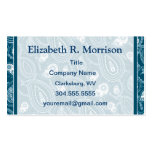 Blue Paisley Pattern Business Card Templates