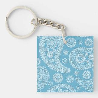 Blue Paisley Pattern Keychain