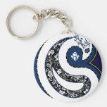 Blue paisley pattern ornate rose basic round button keychain
