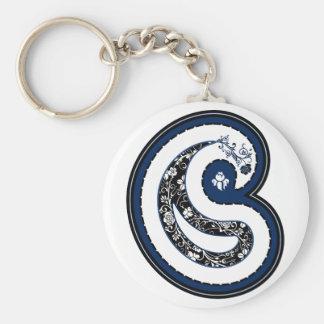 Blue paisley pattern ornate rose keychain