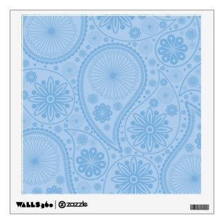Blue paisley pattern wall decal