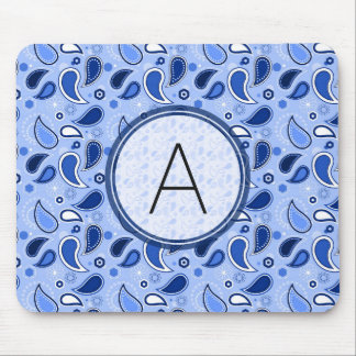 Blue Paisley Pattern with Monogram Mouse Pad