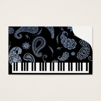 Blue Paisley Piano Business Cards
