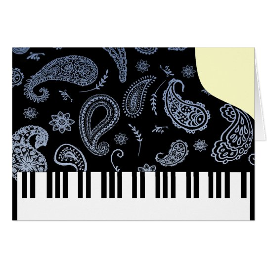 Blue Paisley Piano Card
