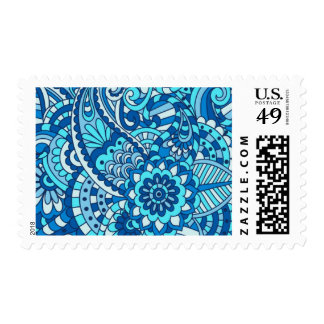 Blue Paisley Postage Stamps