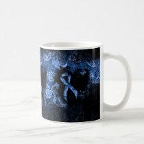 Blue Paisley Ribbon Grunge Heart Coffee Mug