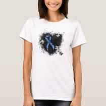 Blue Paisley Ribbon Grunge Heart T-Shirt