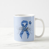 Blue Paisley Ribbon with Butterfly Coffee Mug