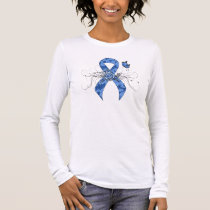 Blue Paisley Ribbon with Butterfly Long Sleeve T-Shirt