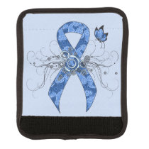 Blue Paisley Ribbon with Butterfly Luggage Handle Wrap