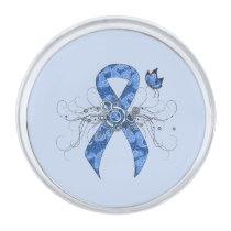 Blue Paisley Ribbon with Butterfly Silver Finish Lapel Pin