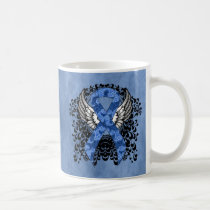 Blue Paisley Ribbon with Wings Coffee Mug